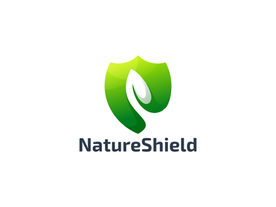 NatureShield typography vector illustration design icon app branding shield natural logo