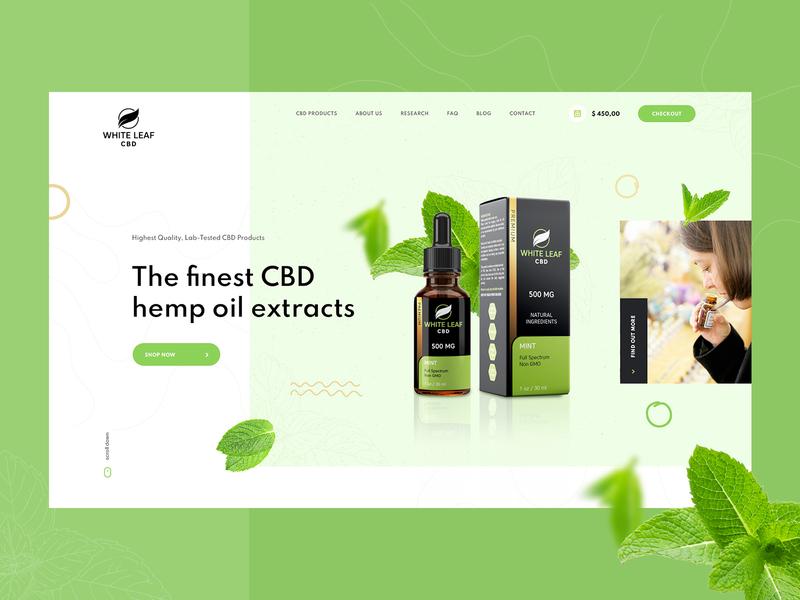 White Leaf CBD products - Web Design cbd webdesign ui design web ux