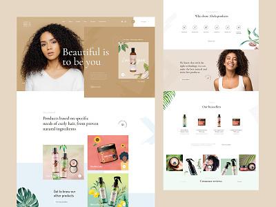 Abela Cosmetics Webdesign curly hair cosmetics landin page ui design web ux