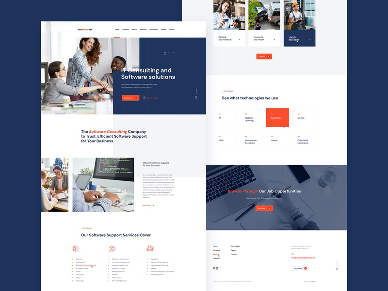 Main Stream IT Consulting, Hardware and Strategy Web Design ui landin page design web