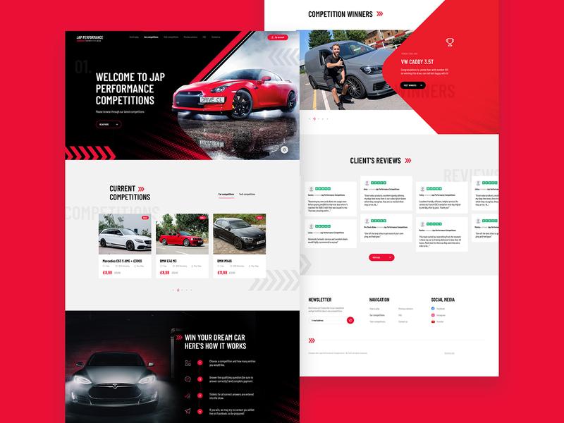 JAP Performance Car Competition Web Design design ux landin page ui web