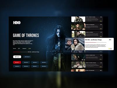HBO Redesign Website hbo website gameofthrones minimal web icon typography ux ui design netflix