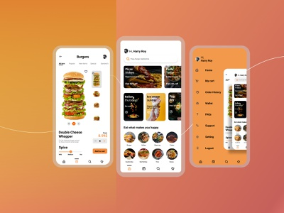 Food App vector branding food and drink app design colorful burgers food app classic ui ux typography minimal design