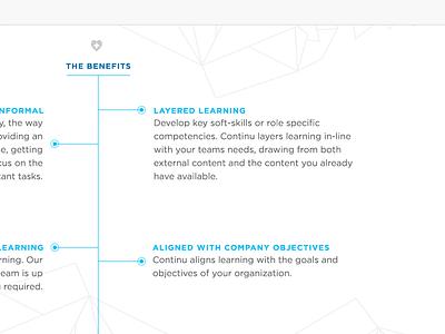 Continu: Benefits continu learning benefits marketing landing page