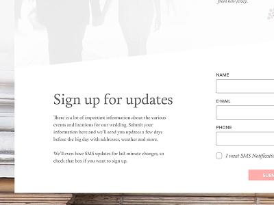 Sign up wedding wedding site
