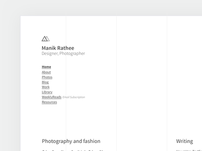 Manik Rathee, v7 site homepage portfolio