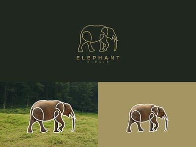 ELEPHANT LINE ART LOGO design flat ui motion graphics branding logo graphic design
