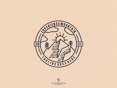 EXPERIENCE MONTAIN LINE ART typography graphic design vector icon logo design branding