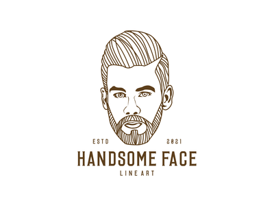 HANDSOME FACE LINE ART typography logo flat design graphic design branding face line apparel line art face face line art
