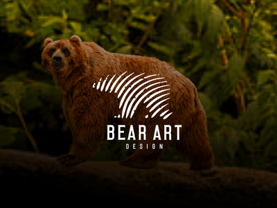 BEAR ART DESIGN typography icon logo design graphic design branding bear apparel bear design bear line art bear logo