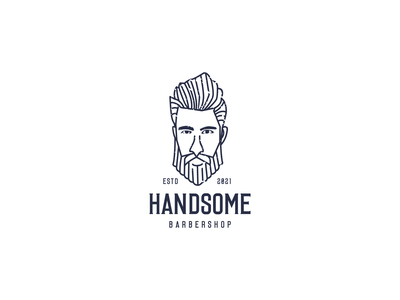 HANDSOME BARBERSHOP branding graphic design barbershop line art man cool logo basrbershop logo man barbershop