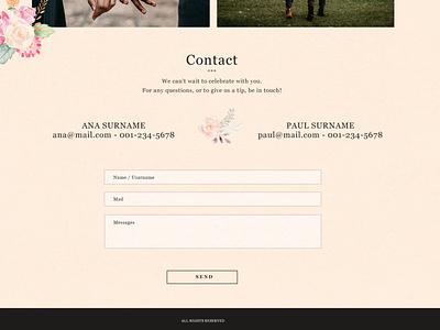 Website - contact weeding ui design graphic design website web weeding template adobe