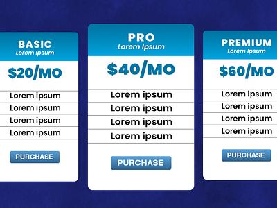 #DailyUI 030 graphic design web design adobe table pricing