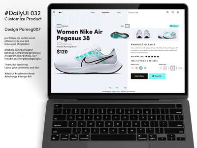#DailyUI 032 Customize Product color price nike shoes product uxui ui adobe look graphic design design website web 032 dailyui customize