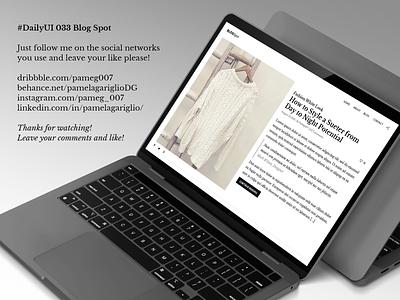 #DailyUI 033 Blog Spot best white blogspot ui website web graphic design adobe design dailyui blog