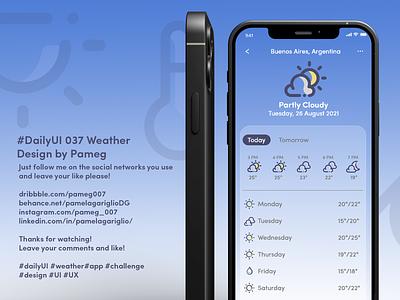 #DailyUI 037 Weather weather mobile aplication challenge userinterface user app design adobe dailyui graphic design ui