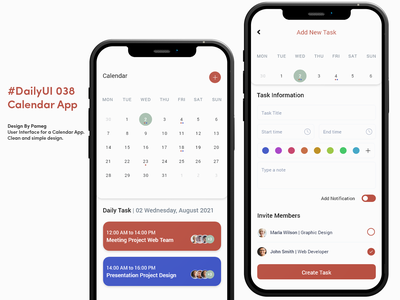 #DailyUI 038 Calendar App ui ios android aplication mobile app user interface graphic design design adobe dailyui calendar task