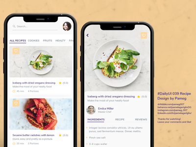 #DailyUI 039 Recipe user challenge uxui ui healty food recipe app web graphic design design adobe dailyui