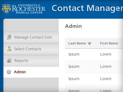 Contact Manager upgrade wip intranet navigation