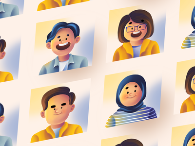 Retrux Avatar Team avatars identity branding photoshop digital illustration profilepicture character design avatar illustration avatar icons avatardesign avatar character design bright