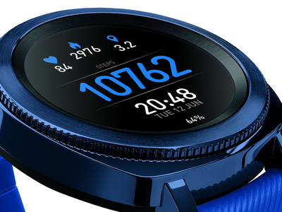 Blue Fitness Watch Face design icon app watchface ui smartwatch