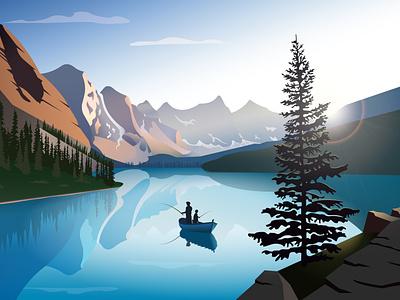 Moraine Lake - Canada sunnyday tree fishman fishing boat canada morainelake vector nature mountain lake illustration