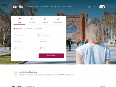 Travello - Online travel booking travel ui website design ux ui