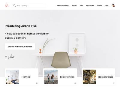 Airbnb Landing Page Concept Design travel responsive simple web ux ui