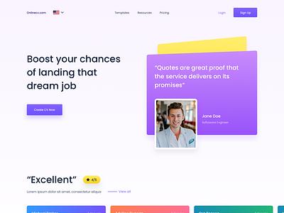 Online CV creator cv design responsive simple website ui ux design ux ui