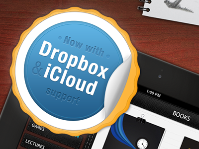 Badge for PDF Cabinet App dropbox icloud badge pdf itunes cloud illustration skeuomorph skeumorfic skeumorfism curl