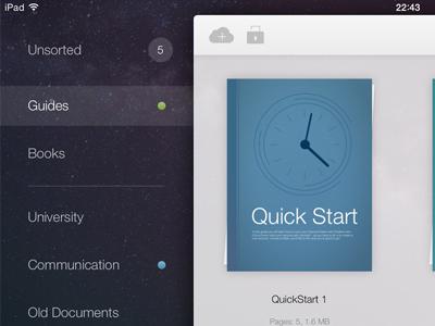 PDF Cabinet 2.0 design document pdf guide cover ui ipad app interface documents illustration flat