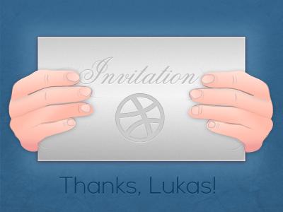 Hello Dribbble! thank you thanks invitation envelope invite blue dribbble dribble hands hold letter fingers