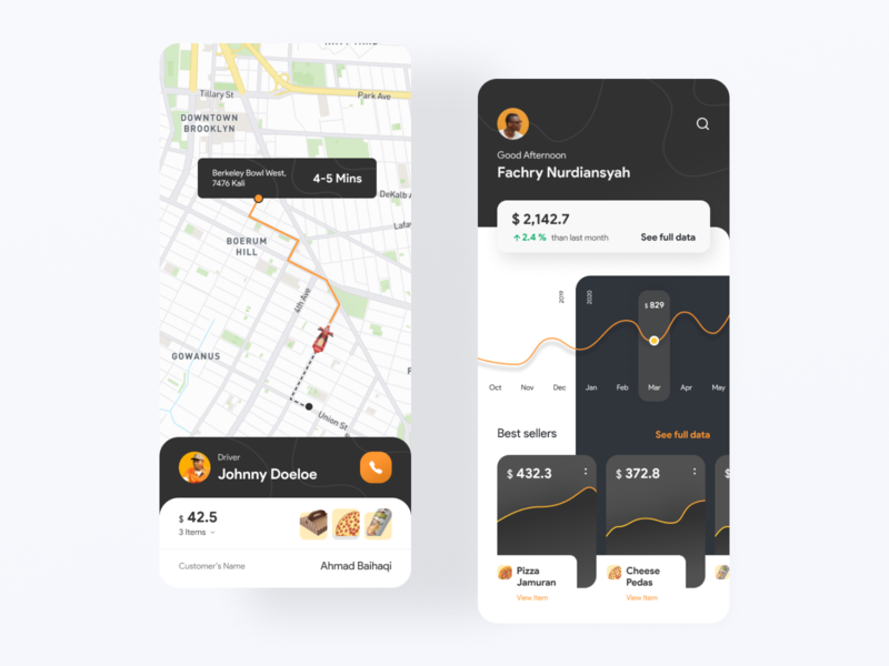 Pizza Order Management App ubereats uber delivery map driver menu management graph order pizza card android minimalist dark ios design clean ux ui modern