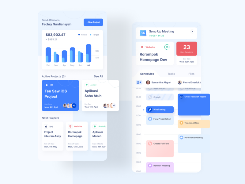 Project Management App mobile ux ui management project management meeting schedules calendar ui alert minimalist colorful clean projects calendar schedule earning graph chart dashboard project