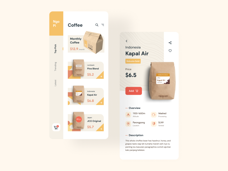 Coffee Shop shop store minimal modern white color mobile app ios ux ui minimalist colorful playful coffee bean ecommerce delivery management order coffee