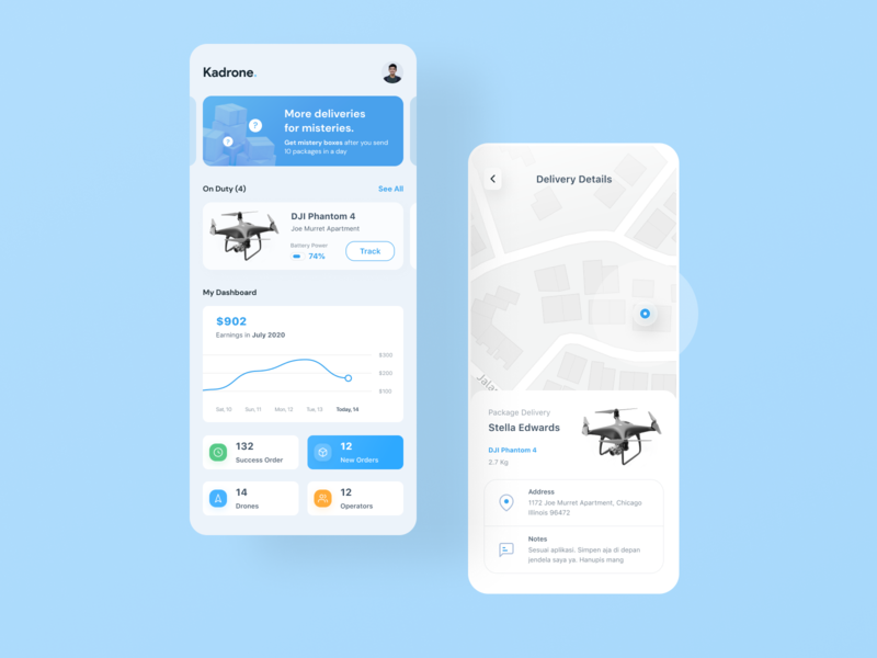 Package Delivery App ui ux modern clean design blue ios minimalist dashboard android card mobile delivery package courier drone fly map smart city city