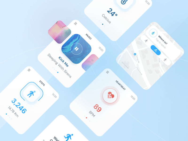 Fitness Watch OS App fitness tracker fitness health health app sport design sport free watchos watch map mobile card minimalist blue design ios clean ux ui modern