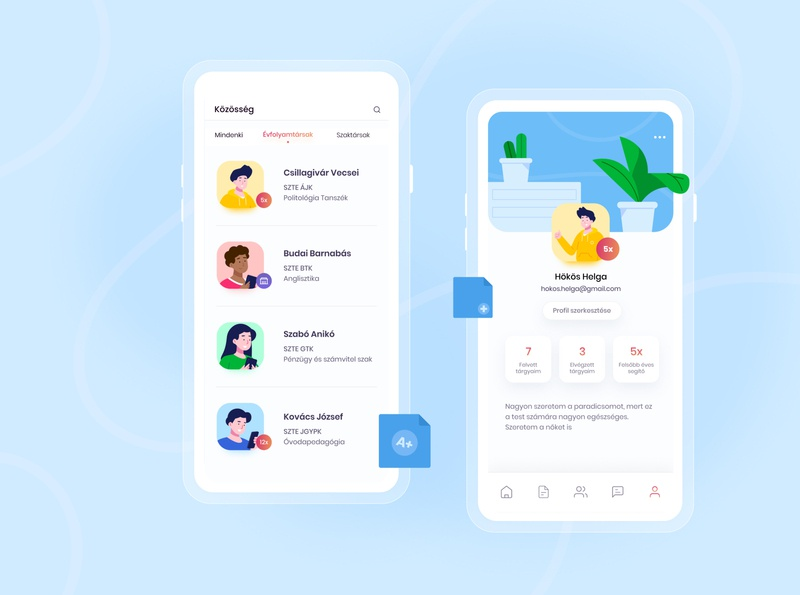 Mooz Educational & Social App ios social university edit profile profile list user education ui illustration app illustration illustration clean ux ui modern