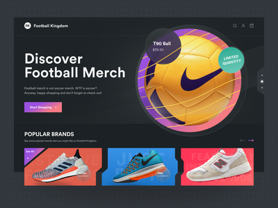 Football Shop - Hero Section Website home buy cart order detail fashion product football shoes sport shop ecommerce landing page hero card dark clean ux ui modern
