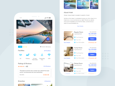 Travy App Hotel Details light app white blue about facilities review hotel booking hotel design travel agent travel agency travel app hotel app room booking book room buy hotel clean modern travel