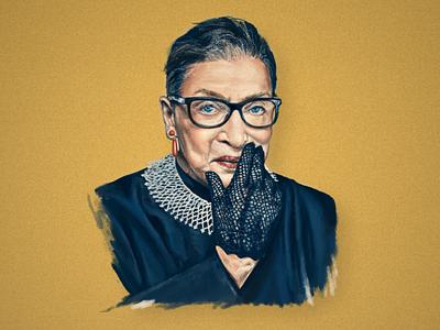 Ruth Bader Ginsburg Illustration social painting animation illustration branding graphic design