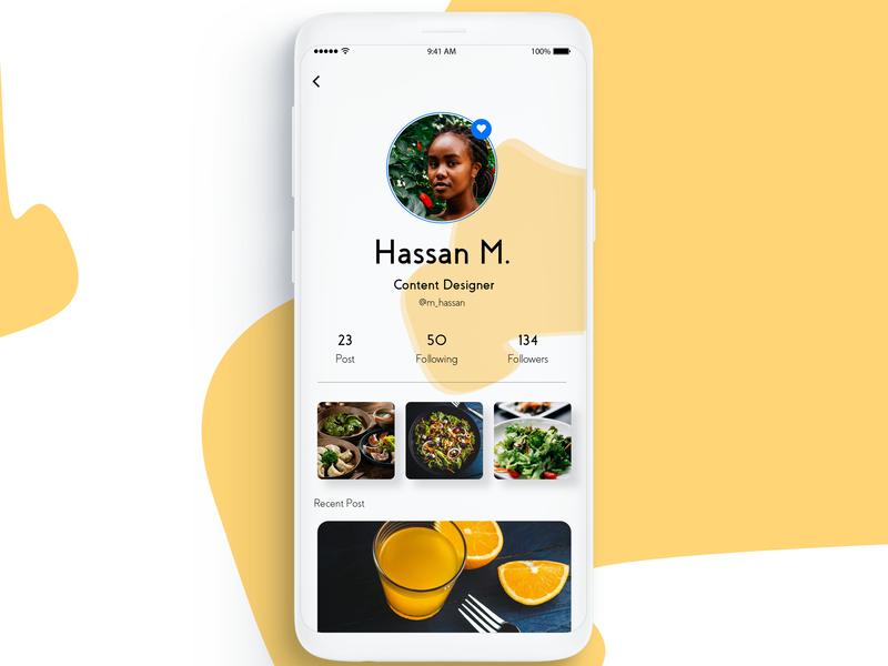 User Profile typography web branding logo design ui designer ui  ux ui desgin simple food app ui photoshop illustration vector design ux ui