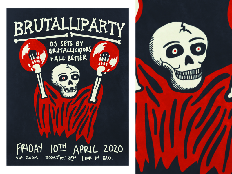 Brutalliparty Poster procreate record skull print gig poster poster music illustration