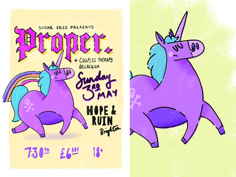 Proper Poster procreate unicorn gig poster poster music illustration