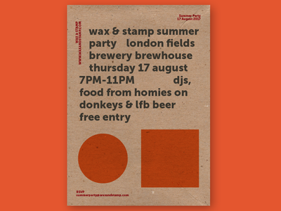 Wax & Stamp event poster