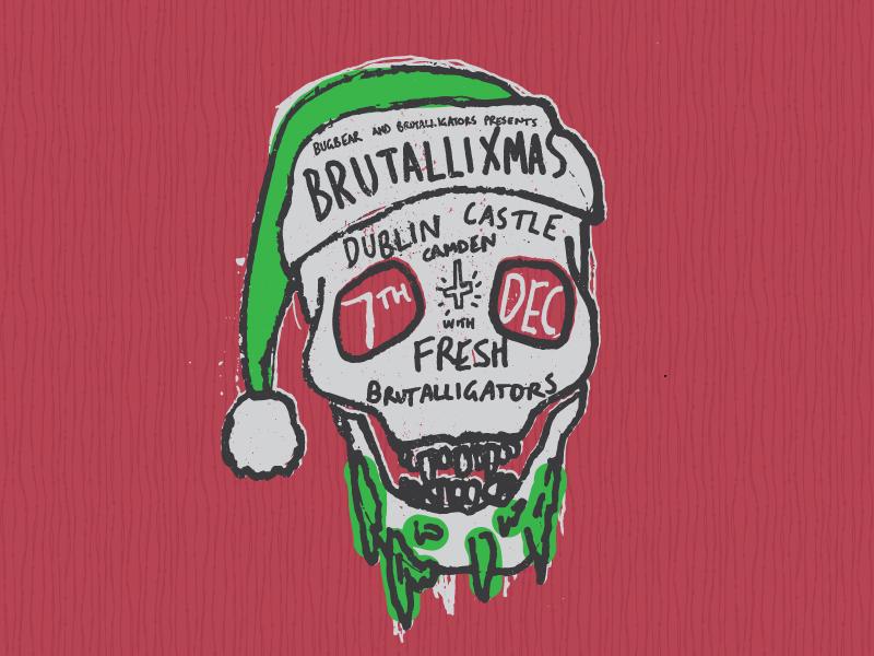 Brutallixmas - Skull music gig poster christmas santa skull band