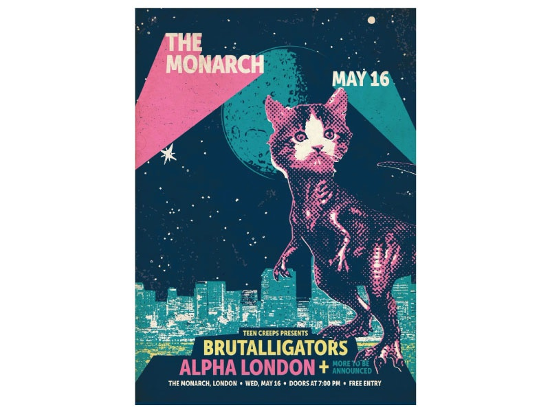 Brutalligators Poster Design gig poster poster dinosaur catosaur band