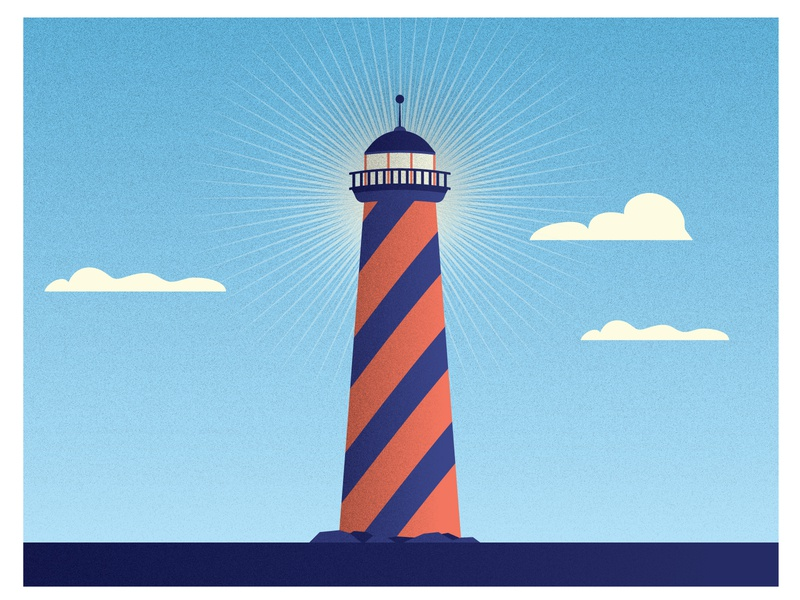 Lighthouse stipple illustration lighthouse gig poster