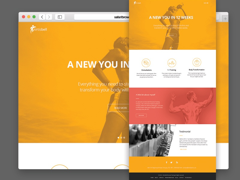 Trainer homepage web design website sports fitness web trainer marketing user interface bright icons