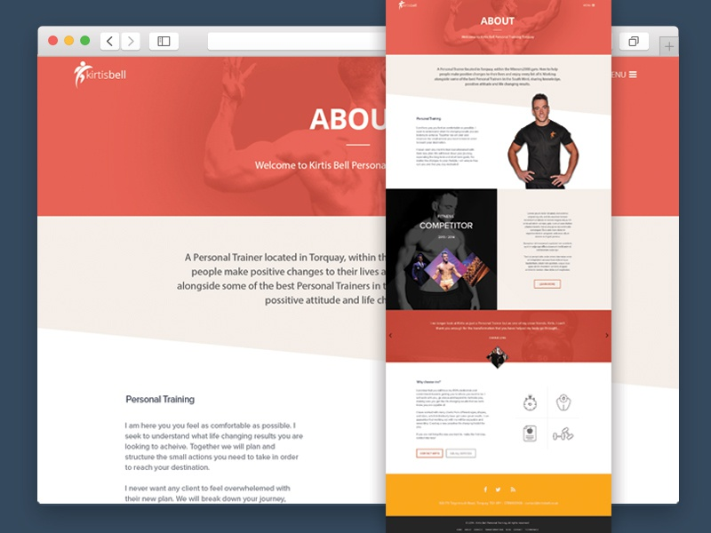 About Trainer Page web design website sports fitness web trainer marketing user interface red bright